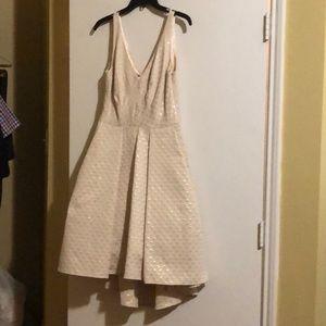 Women's Metallic V-Back Brocade Hi-lo Dress